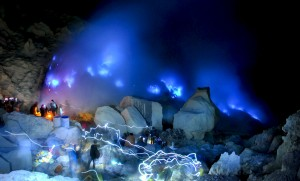 Blue fire Kawah Ijen malam