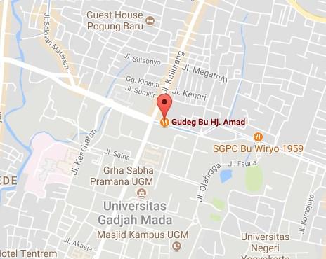 Peta Alamat Gudeg Bu Hj. Ahmad Yogyakarta