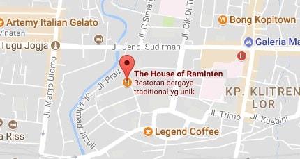 peta lokasi alamat the house of raminten