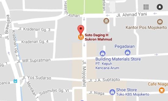 Peta Alamat Soto Daging H. Sukron Mahmud mojokerto