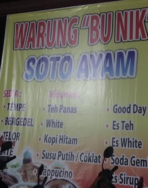 """Soto Ayam Semarang """"BU NIK"""""""